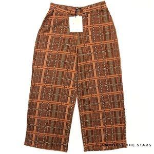 Zara Brown Checkered Wide Leg Crop Culottes Pants